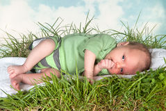Little baby on grass Royalty Free Stock Photo