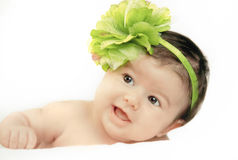Little baby. With green flower color Royalty Free Stock Photos