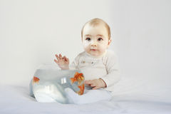 Little baby holding a fish tank royalty free stock photography