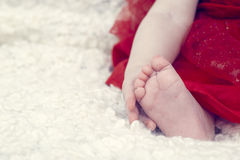 Little baby holding his foot isolated Royalty Free Stock Image