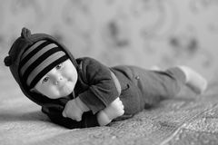Little baby at home. Black and white shot of little baby boy at home Royalty Free Stock Photo