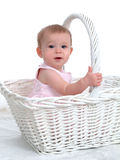 Little Baby In A Big Basket Stock Photos