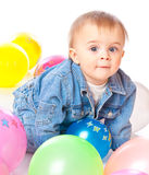 Little Baby In Balloons Stock Image