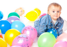 Little Baby In Balloons Royalty Free Stock Photos