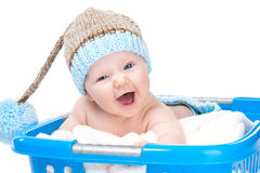Little Baby In Laundry Basket Royalty Free Stock Photo