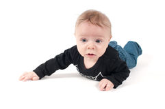 Little baby in jeans and black top Royalty Free Stock Image