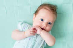 Little baby on a knitted blanket stock images