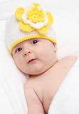 Little baby in knitted hat Royalty Free Stock Photo
