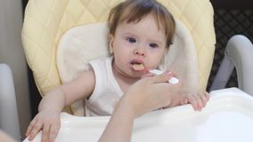 Little baby learns to eat porridge from spoon. Mom introduces kid first feed in diet.  stock video footage