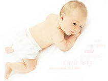 Little baby lying in the bed Royalty Free Stock Photography
