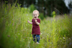 Little baby in a meadow eating cookie. Little happy baby wearing nice dress in a meadow eating cookie Stock Images