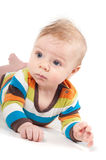 Little baby in multicolored striped clothes Stock Photography