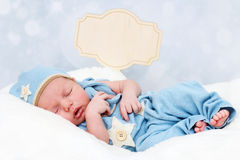 Little baby newborn sleeping and dreaming Stock Image