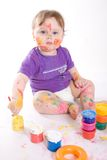 Little baby painting Stock Photography