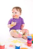 Little baby painting Stock Photos
