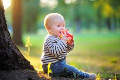 Little baby at the park Royalty Free Stock Photos