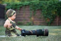 Little baby photographer Royalty Free Stock Images