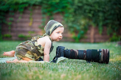 Little baby photographer Royalty Free Stock Photography