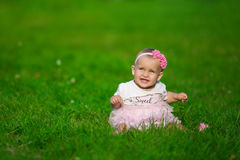 A little baby in a pink clothes sits on a grass. A little baby in a pink clothes sits on a green grass Stock Photography