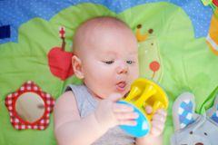 Little baby play with bright toy. Four month old baby play with bright toy Royalty Free Stock Photos