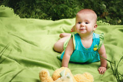Little Baby Playing on the Blanket Royalty Free Stock Photos