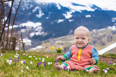 Little baby playing with crocus flowers in the Alps mountains Stock Photo