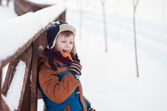 Little Baby playing and eating sweet cockerel in winter day. Kids play in snowy forest royalty free stock photos
