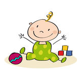 Little baby playing on the floor. Original hand drawn illustration of little baby Royalty Free Stock Images