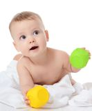 Little baby plays toys Royalty Free Stock Image