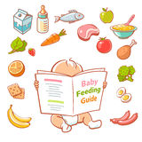 Little baby  reading food guide Stock Photo