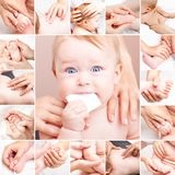 Little baby receiving chiropractic or  osteopathic manual treatm. Seven month baby girl`s neck, arm, hand, thumb, elbow, back, spine, head and foot are Stock Photography
