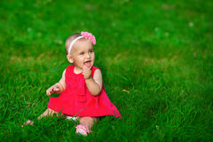 A little baby in a red dress sits on a grass. A little baby in a red dress sits on a green grass Stock Images