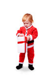 Little baby in red suite isolated Stock Photo