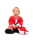 Little baby in red suite isolated Stock Photography