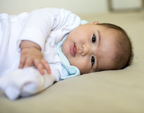 A little baby is resting at home. Royalty Free Stock Images