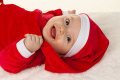 Little Baby with Santa Claus Stock Image