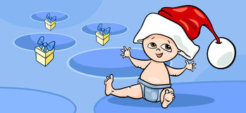 Little baby santa greeting card cartoon Stock Photography
