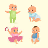 Little baby set flat illustration. Little baby set flat vector illustration Royalty Free Stock Photos