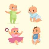 Little baby set flat illustration Royalty Free Stock Photos