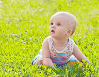 Little baby sitting on the grass. In park Royalty Free Stock Photography