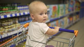 Little baby sitting in a grocery cart in a supermarket, waiting for her mother to come back with purchases. Family stock footage