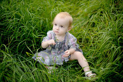 Little baby sitting in a meadow in the grass. Little baby is sitting in a meadow in the grass holding flower Royalty Free Stock Photo