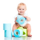 Little baby sitting on a pot Royalty Free Stock Images