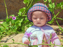Little baby sitting on sand and play with flower Royalty Free Stock Photography
