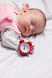 Little baby sleeping in the bed Royalty Free Stock Photo
