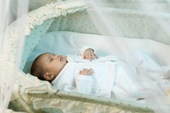 Little baby sleeping in the manger Royalty Free Stock Images