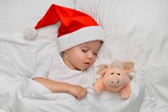 Little baby sleeping on white linen in the Santa hat with his toy pig, wich is the symbol of the year 2019. Bedding, santa suit, santa hat royalty free stock photo