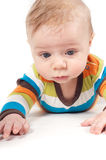 Little baby in striped clothes Royalty Free Stock Photos