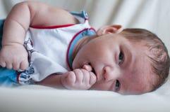 Little baby sucks his fist Royalty Free Stock Photos