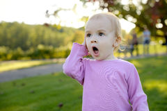 Little baby surprized. Nice little baby looking very surprized Royalty Free Stock Photography